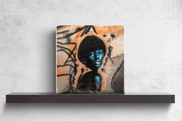 London Graffiti. Es zeigt das Bild einer afroamerikanischen Frau im Stil der 70's die lasziv über die Schulter blickt. Sie trägt einen Pagenkopf mit Pony, plakativ reduziert dargestellt in Blau- und Weißtönen. Der Hintergrund ist eine Graffiti Wand in komplementären Orangetönen und schwarzen Tags. Das Bild steht auf einem schwarzen Wandregal vor weißem Hintergrund.