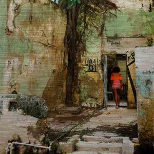 Havanna Frau Orange. Es zeigt das Bild einer jungen schlanke Frau, welche mit einem kurzen Kleid in den Farben Orange/Rot/Weiß gekleidet, in einem Hauseingang läuft. Es führen 3 Stufen zu einem Vorplatz vor dem Eingang. Dieser Vorplatz war früher wahrscheinlich selbst ein Haus und links neben dem Eingang steht ein großer Baum. Das Gebäude ist ziemlich verfallen. Die freistehenden Mauern sind in Grün-Gelb-Brauntönen und es ist eine offen verlegte Wasserleitung zu sehen. Links neben dem Eingang, durch den die Frau läuft, steht links die Zahl 461. Das Alu Dibond Bild ist im Hochformat.